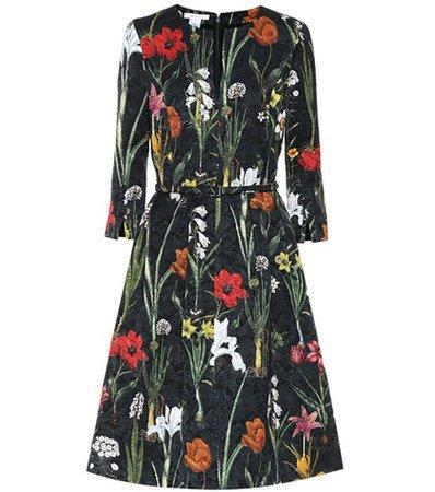 Floral jacquard cotton-blend dress