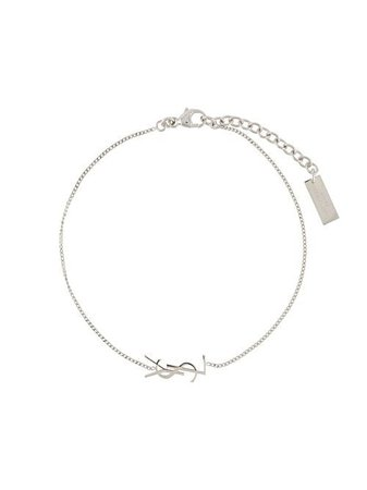 silver Saint Laurent monogram bracelet