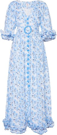 Belted Ruffled Floral-Print Linen Maxi Dress