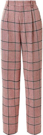 Prince Of Wales Checked Wool-blend Wide-leg Pants - Red
