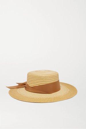 Tan Cordovez grosgrain-trimmed two-tone toquilla straw hat | Sensi Studio | NET-A-PORTER