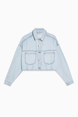 Bleach Denim Cropped Denim Jacket | Topshop