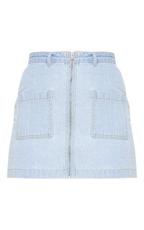 Light Wash Front Zip Denim Skirt   Denim   PrettyLittleThing