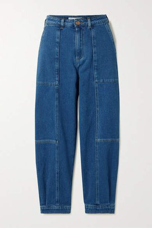 Cropped Paneled High-rise Jeans - Mid denim
