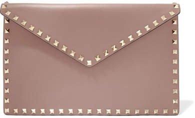 Garavani The Rockstud Leather Pouch - Pink
