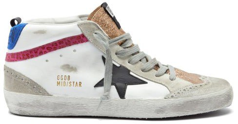 Mid Star High-top Leather Trainers - White Multi