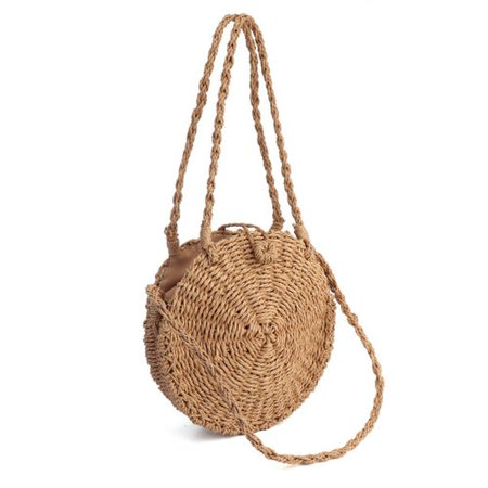 Women Sumer Straw Bag Woven Round Handbag Purse Boho Crossbody Beach Handbag | eBay
