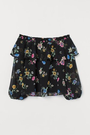 Off-the-shoulder Blouse - Black/floral - Ladies | H&M US