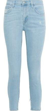 835 Cropped Distressed Mid-rise Skinny Jeans