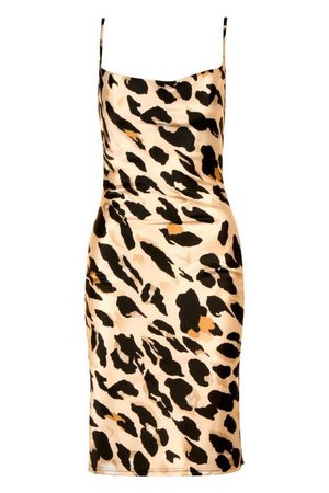 Petite Leopard Print Cowl Neck Midi Dress   Boohoo