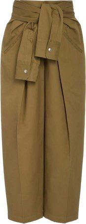 Tie-Waist Cotton Utility Pants