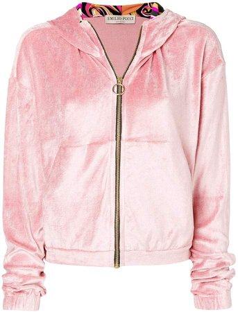 plush zipped hoodie