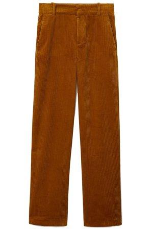 Mango russet cotton corduroy high-waist wide-leg trousers
