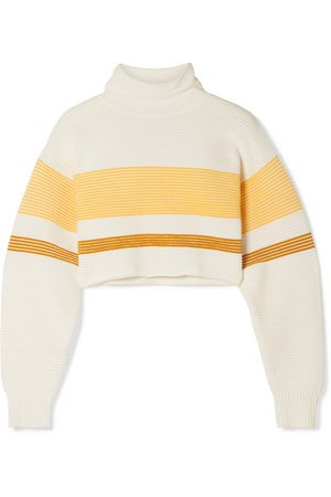 Nagnata | + NET SUSTAIN cropped striped ribbed organic cotton turtleneck sweater | NET-A-PORTER.COM