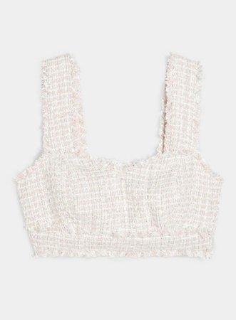 PETITE Pink Boucle Bralet | Miss Selfridge