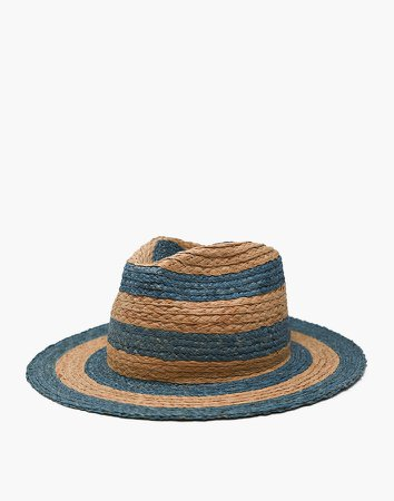 WYETH Striped Straw Isa Fedora Hat