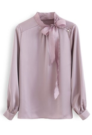 Chic Wish Satin Bowknot Neck Long Sleeves Top in Purple - Retro, Indie and Unique Fashion