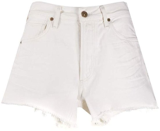 Frayed Mid-Rise Denim Shorts