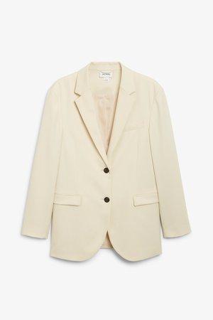 Single-breasted blazer - Light beige - Coats & Jackets - Monki WW