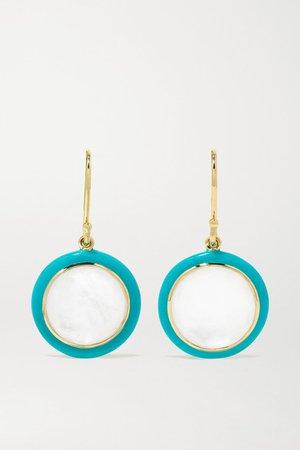 Ippolita | Lollipop Carnevale 18-karat green gold, ceramic, mother-of-pearl and quartz doublet earrings | NET-A-PORTER.COM