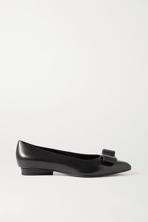 Viva Bow-embellished Leather Point-toe Pumps - Black