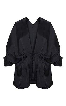 Black Textured Plunge Tie Waist Blouse | Tops | PrettyLittleThing USA