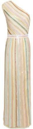 One-shoulder Sequin-embellished Metallic Crochet-knit Maxi Dress