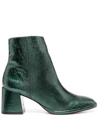 Green Schutz block-heel crinkle ankle boots S2106400010012 - Farfetch