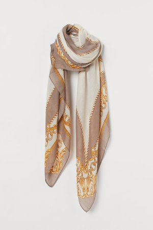 Patterned Scarf - Brown