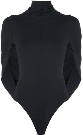 draped-cape roll neck top