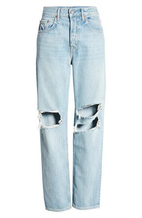 GRLFRND Isabeli Ripped High Waist Organic Cotton Straight Leg Jeans (Wish You Would) | Nordstrom