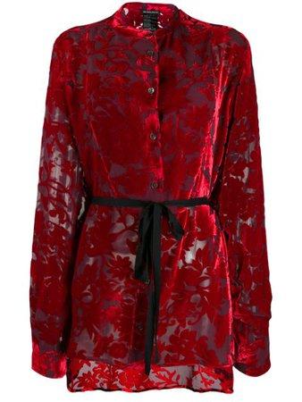 Ann Demeulemeester Tie Waist Floral Pattern Blouse   Farfetch.com