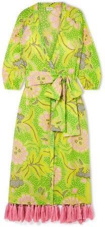 Rhode Resort - Lena Tasseled Printed Cotton-voile Wrap Maxi Dress - Green