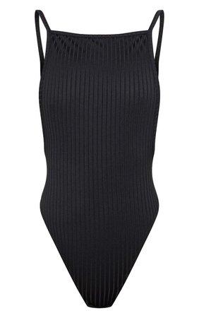 Shape Black Rib Scoop Back Bodysuit | PrettyLittleThing USA
