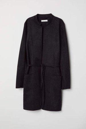 Coat with Tie Belt - Black