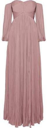 Off-the-shoulder Plisse Crepe De Chine Gown