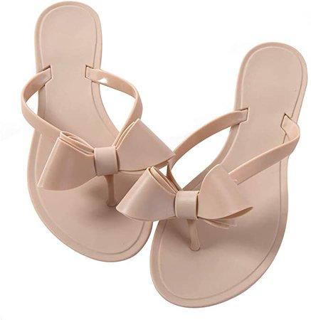 Amazon.com | Mtzyoa Women Stud Bow Flip-Flops Sandals Beach Flat Rivets Rain Jelly Shoes | Flats