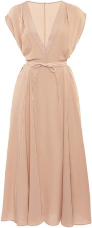 Valentino Belted Silk Midi Dress