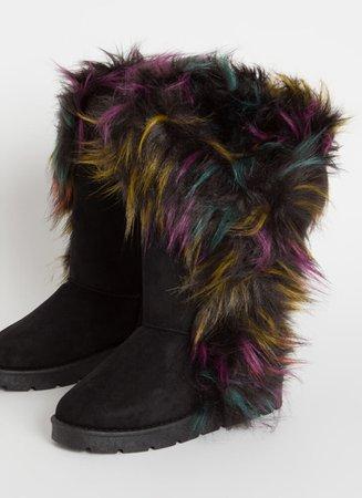 Shag Me Furry Trim Vegan Suede Boots BLACK - GoJane.com