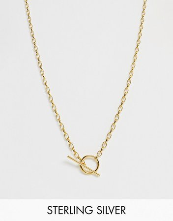 Astrid & Miyu 18k gold plated T bar necklace | ASOS