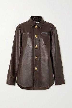 Brown Leather shirt | Bottega Veneta | NET-A-PORTER