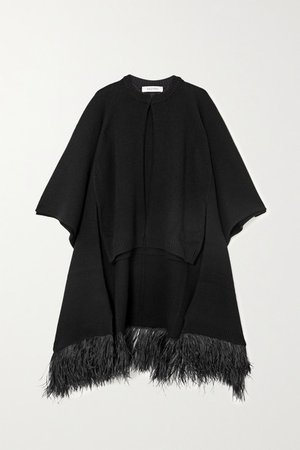 Feather-trimmed Wool And Cashmere-blend Cape - Black