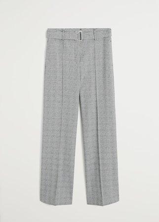 Belt straight-fit trousers - Women | Mango USA