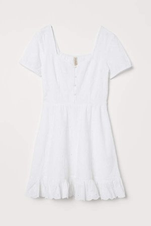 Dress with Eyelet Embroidery - White