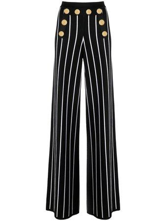 Balmain Pantalon Rayé à Taille Haute - Farfetch