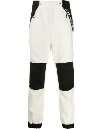 Moncler Grenoble Logo Print Fleece Trousers 8700300C8013 White | Farfetch