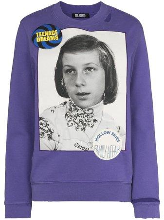 Shop Raf Simons portrait-print cotton sweatshirt with Express Delivery - FARFETCH