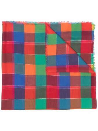 Shop ETRO plaid-check print scarf with Express Delivery - FARFETCH