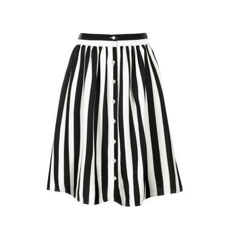 black and white vertical striped skirt