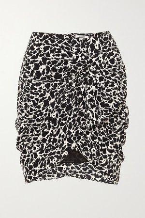 Sky Ruched Printed Crepe De Chine Mini Skirt - Black